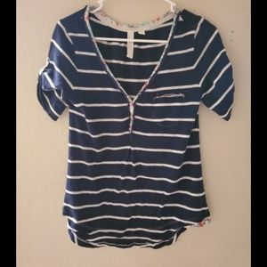 Anthropologie Feather Bone Striped Overlay Top